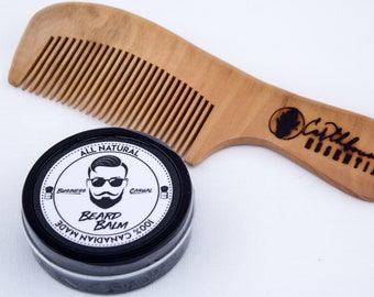Business Casual Beard Balm & Large Peach Wood Comb