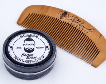 Bro Naturel Beard Balm & Small Peach Wood Comb