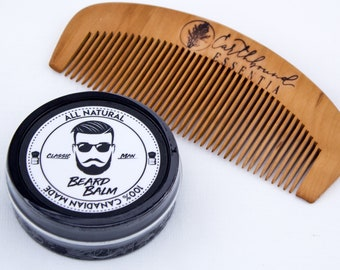 Classic Man Beard Balm & Small Peach Wood Comb