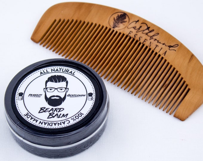 Featured listing image: Perfect Gentleman Beard Balm & Small Peach Wood Comb