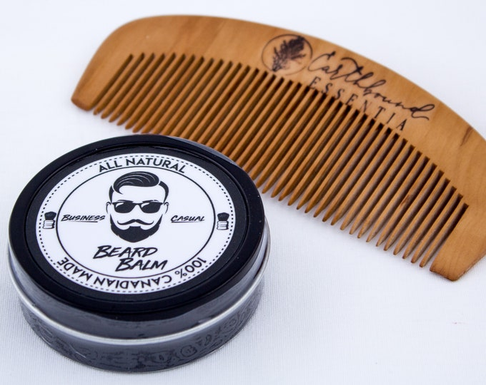 Featured listing image: Business Casual Beard Balm & Small Peach Wood Comb