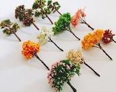 12Pcs mixed designs artificial trees cute plants fairy garden gnome moss terrarium decor crafts bonsai plastic miniatures plastic figurines