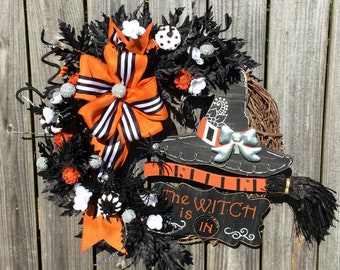 Witch Wreath- Modern Witch Wreath- Halloween Witch Wreath- Witch Wreath  with Broom- Halloween Grapevine Wreath 055d0ce90793