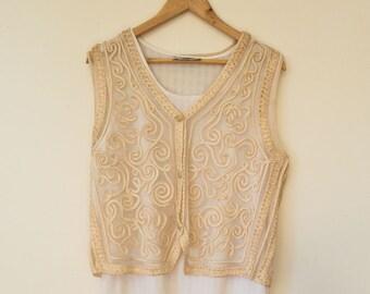 Vintage silk embroidered vest