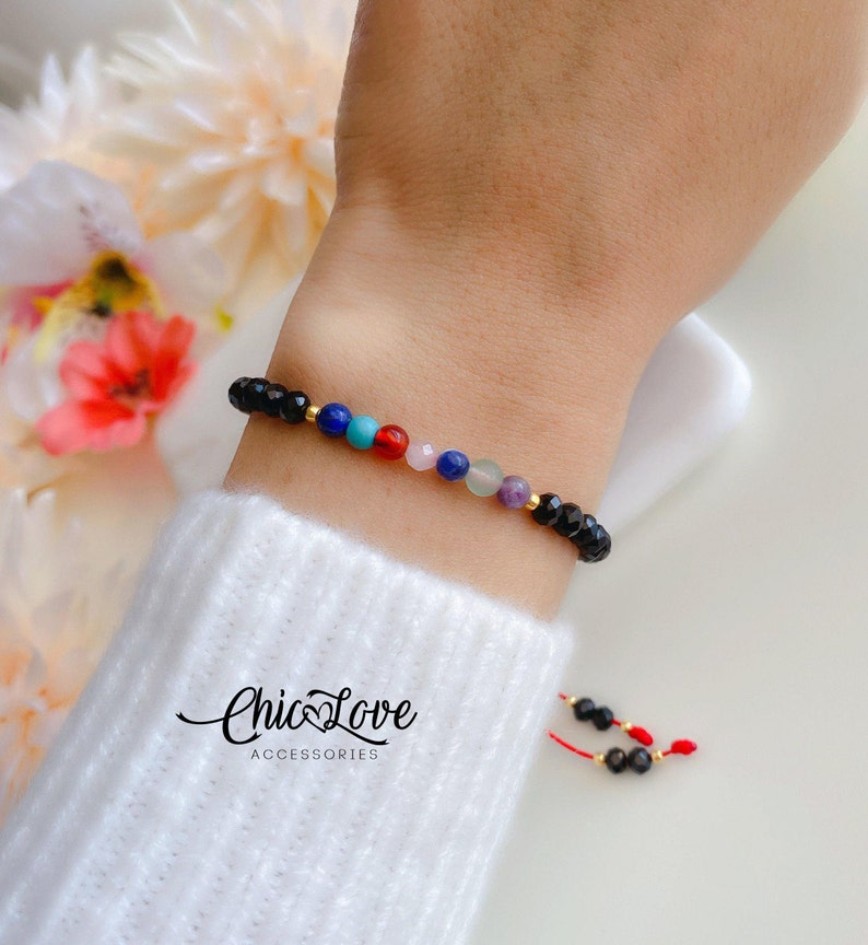 Healing Bracelet. Seven Chakras Bracelet Ref126 7 Chakras Bracelet Seven Chakras Balance String Bracelet with Natural Gemstone