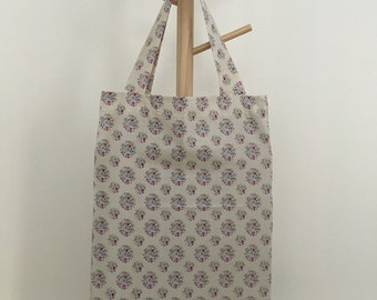 38cm handles 22cm x 23cm Navy blue with white stars fabric Gift bag handmade cotton