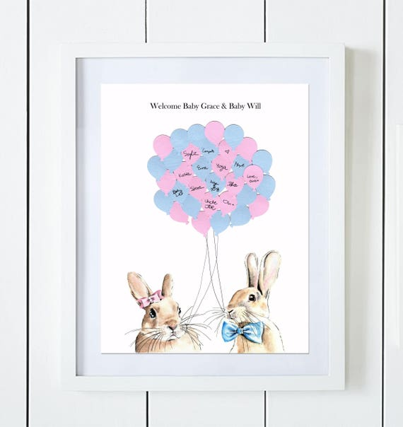 Twins Bunny Baby Shower Guest Book Alternative Baby Girl And Etsy