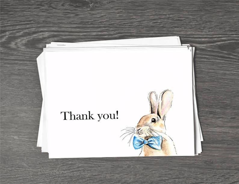Set of Blue Bunny Thank You Cards /& Envelopes