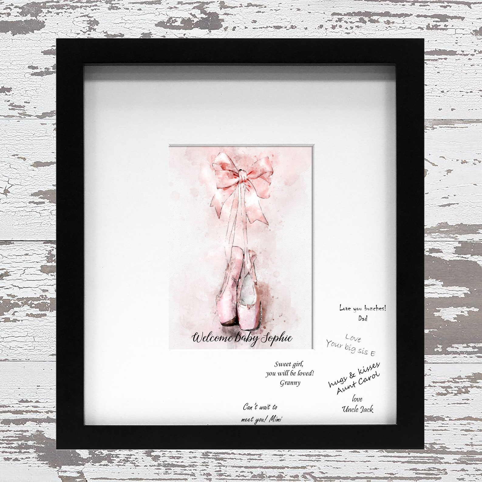 ballet shoes guest book alternative for signatures on the mat birthday baby shower ballet school acceptance graduation