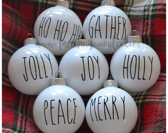 DECAL ONLY~Farmhouse Christmas Decals~Farmhouse Christmas~Rae Dunn Ornament Decal~Rustic Christmas~DIY Christmas Decor~Tree Ornament Decal