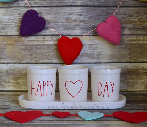 Farmhouse Decor LOVE and XOXO RD Mug Vinyl Decal Set Of 2 Valentines Decals