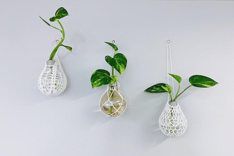 Wall Hanging Handmade Crochet Planters Lightbulb Terrariums image 0