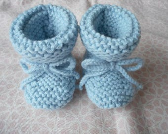 Baby booties baby wool with its link in wool (choice of color)