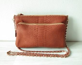 9f1c620dec59 PAMELA Genuine Exotic Python Skin Zipper Crossbody Clutch Women Bag in  Solid Havana Tan Color Gift for Her Christmas