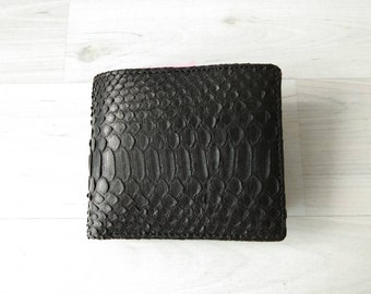 ROBERT Python Bifold Men Wallet Genuine Leather Valentine's Day Gifts Ideas for Him Solid Black Color