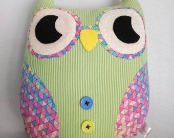 Patchwork owl, Owl cushion, Owl plush, fabric owl