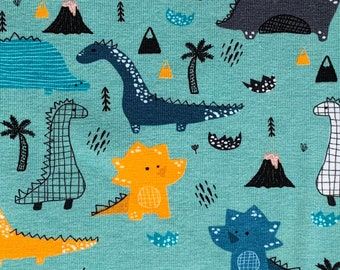 131605de320 Kids dinosaur jersey fabric on mint, stretch fabric, cotton jersey fabric,  fabric for boys, kids, sold by the metre, fabric with dinosaurus