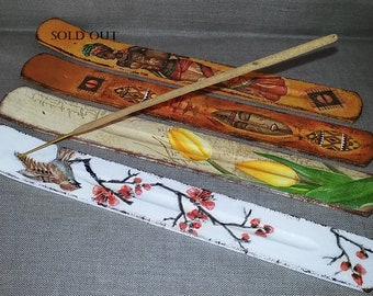 Incense holders,wooden incense holders,decorated incense holders,gift for woman, gift,birthday gift,brown incense holders