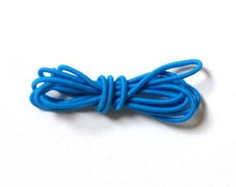 Round elastic, 2 mm, 1 m, cyan blue