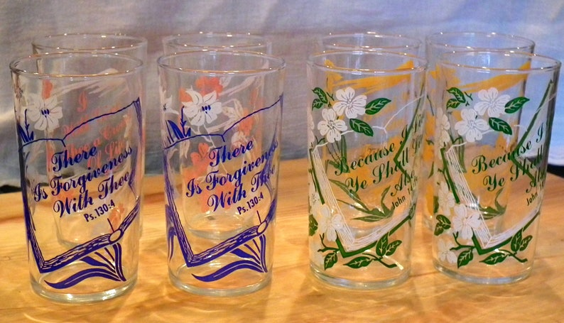 1261dedf37a0 Vintage Federal Glass Co. Christian Bible Verses Tumblers