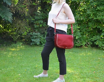 Leather Crossover bag red with rivets and rhinestones Shoulderbag ALEX
