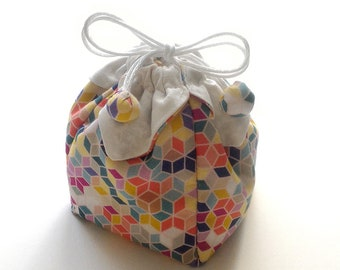 Bag fabric multicolored geometric jewelry