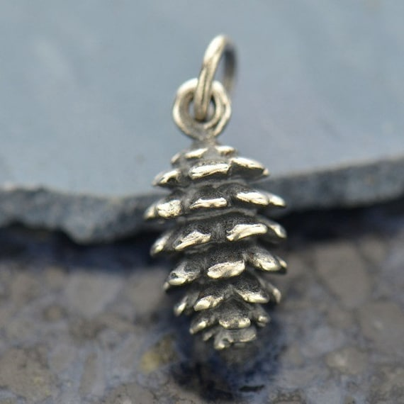 Sterling Silver 3D Small Pine Cone Dangle Charm Bead For Bead Charm Bracelet From Pine Tree