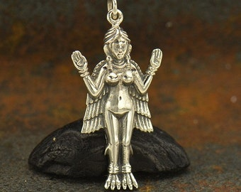 Sterling Silver Inanna Goddess Charm - Goddess, Religious Charms, Venus, Faith, Religious, Yoga, Symbolic, Greek Aphrodite, Venus, Greece
