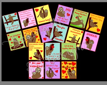 Sloth Valentine card printables --18 multicolored Valentines featuring funny sloths