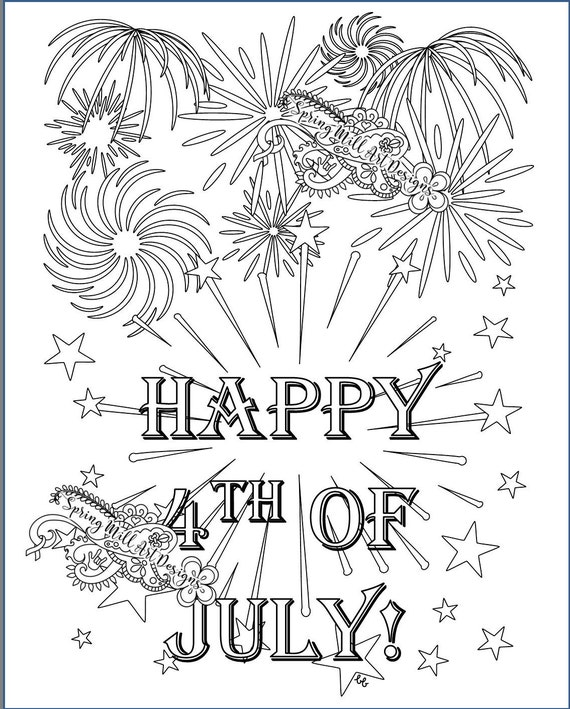 Let\'s celebrate! Happy 4th of July fireworks coloring page in two  printables: white and black backgrounds (both included)