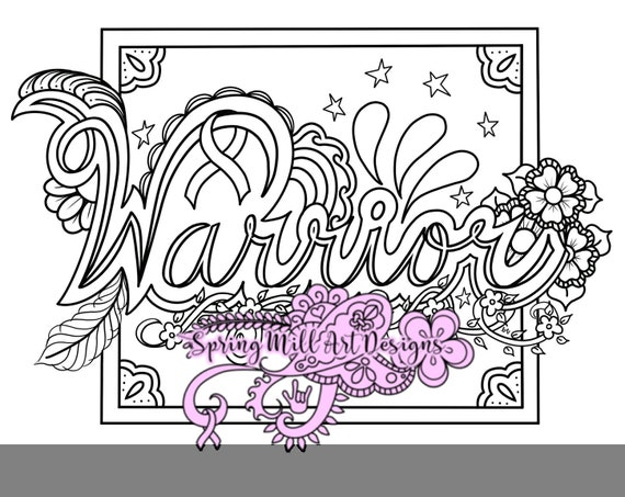 Warrior coloring page with ribbon for cancer awareness--printable