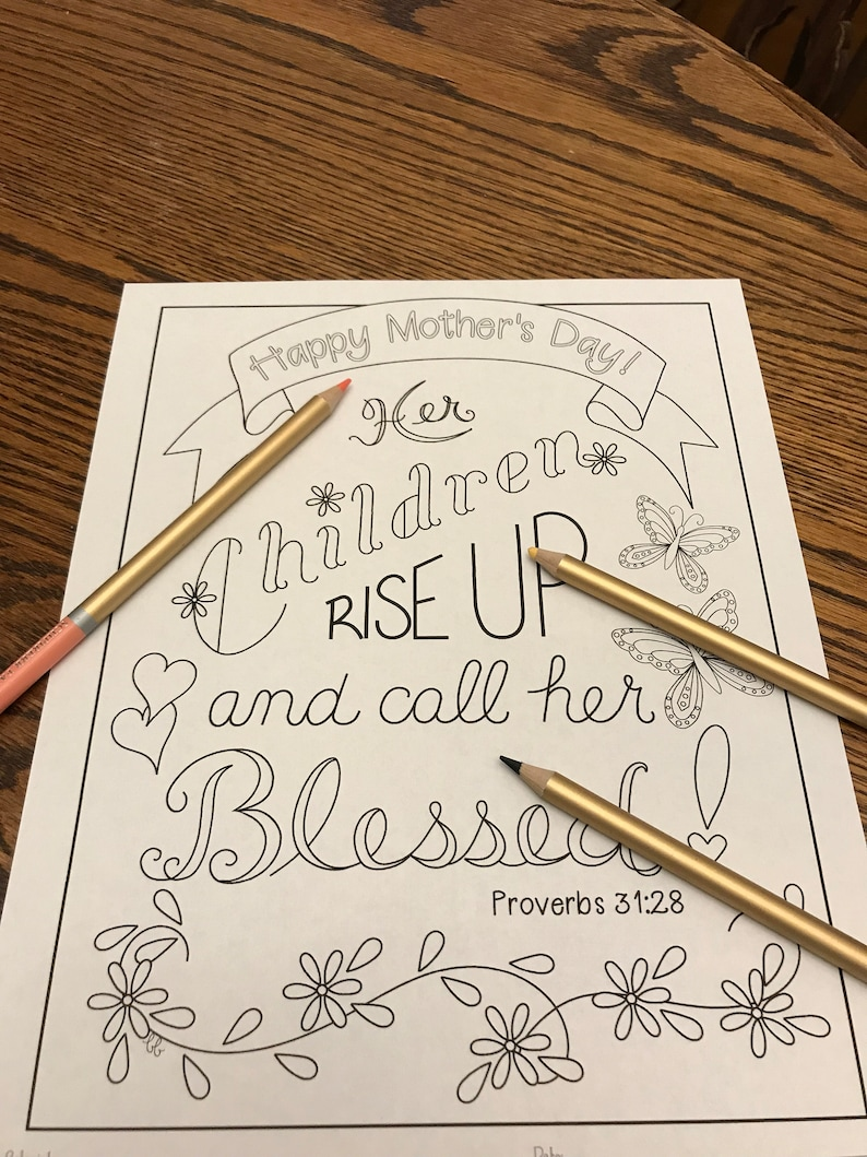 Coloring Page Happy Mother S Day Proverbs 31 28 Her Etsy