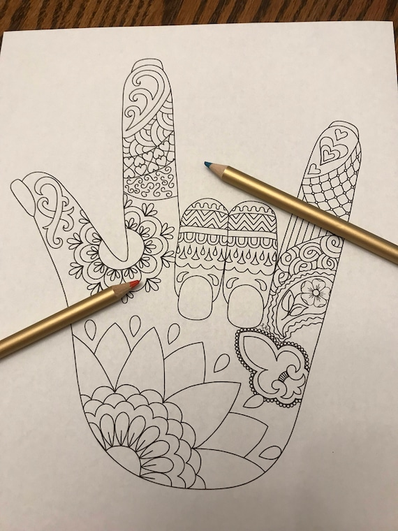 Coloring Page I Love You Sign Language Zentangle Etsy