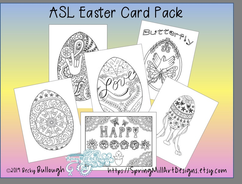 photograph regarding Printable Cards to Color referred to as ASL Easter playing cards towards coloration, 6 printable playing cards in addition envelope habit