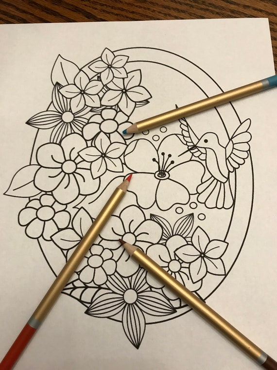Coloring page Spring flowers and hummingbird in frame printable