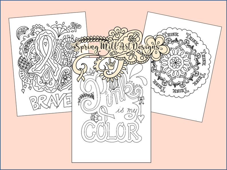 Coloring page Cancer Awareness Ribbon Set 2 Printable