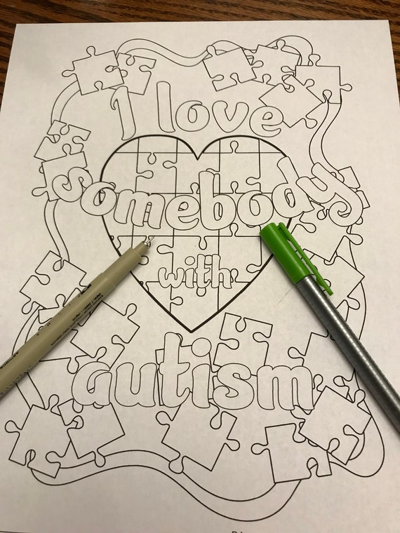 Coloring Page I Love Somebody With Autism Puzzle