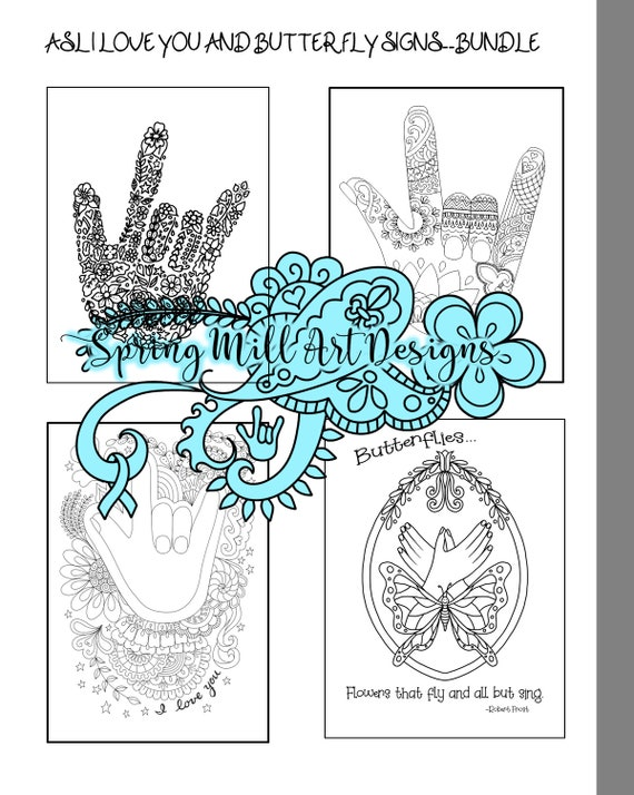 Newasl Coloring Page Bundle Of 4 Printable Pages3 I Etsy