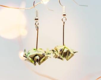 Earrings green origami turtles