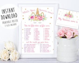 Unicorn name game,Unicorn party,Unicorn Birthday, Unicorn Party Sign,Unicorn Printable,Unicorn welcome sign,unicorn invitation,unicorn props