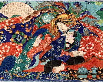 Repro Japanese Woodblock /'Shunga Style/' Print #02