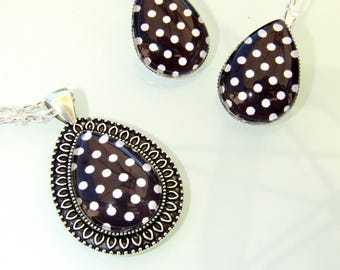 Ornament pendant and Stud Earrings - drop shape - black with white polka dots - glass cabochons