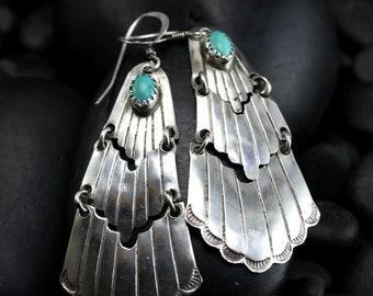 Vintage Cascading Turquoise Earrings - Super-Long Chandelier Earrings