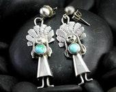 Vintage Turquoise Laughing Women Earrings - Native American Silver Earrings
