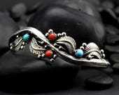 Medium Vintage Turquoise and Coral Bracelet - Native American Bracelet with Silver Leaves