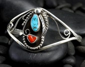Medium to Large Vintage Turquoise and Coral Bracelet - Native American Bracelet with Silver Leaves