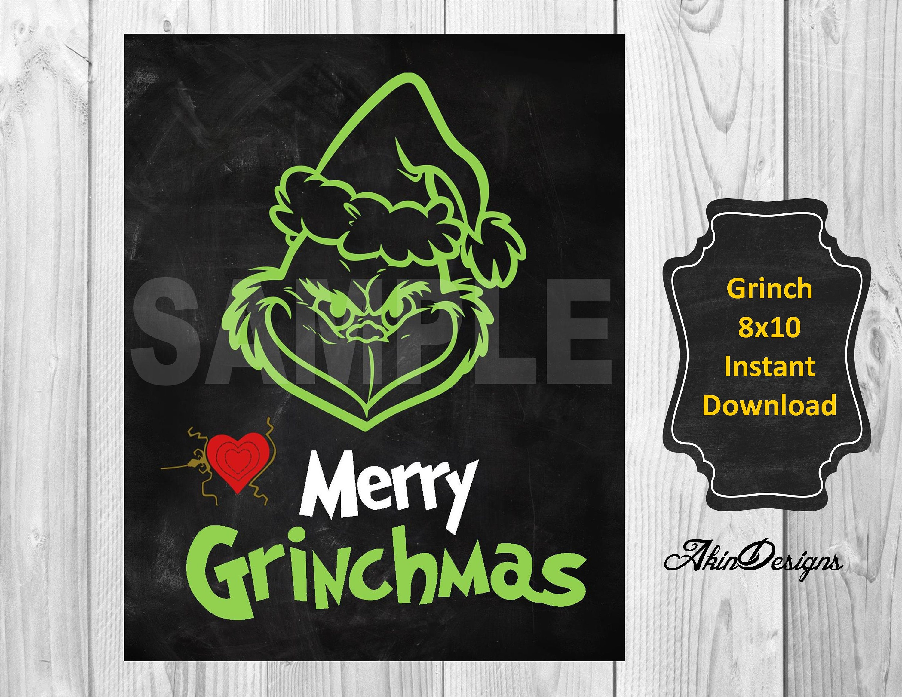Grinch heart 8x10 instant download | etsy.