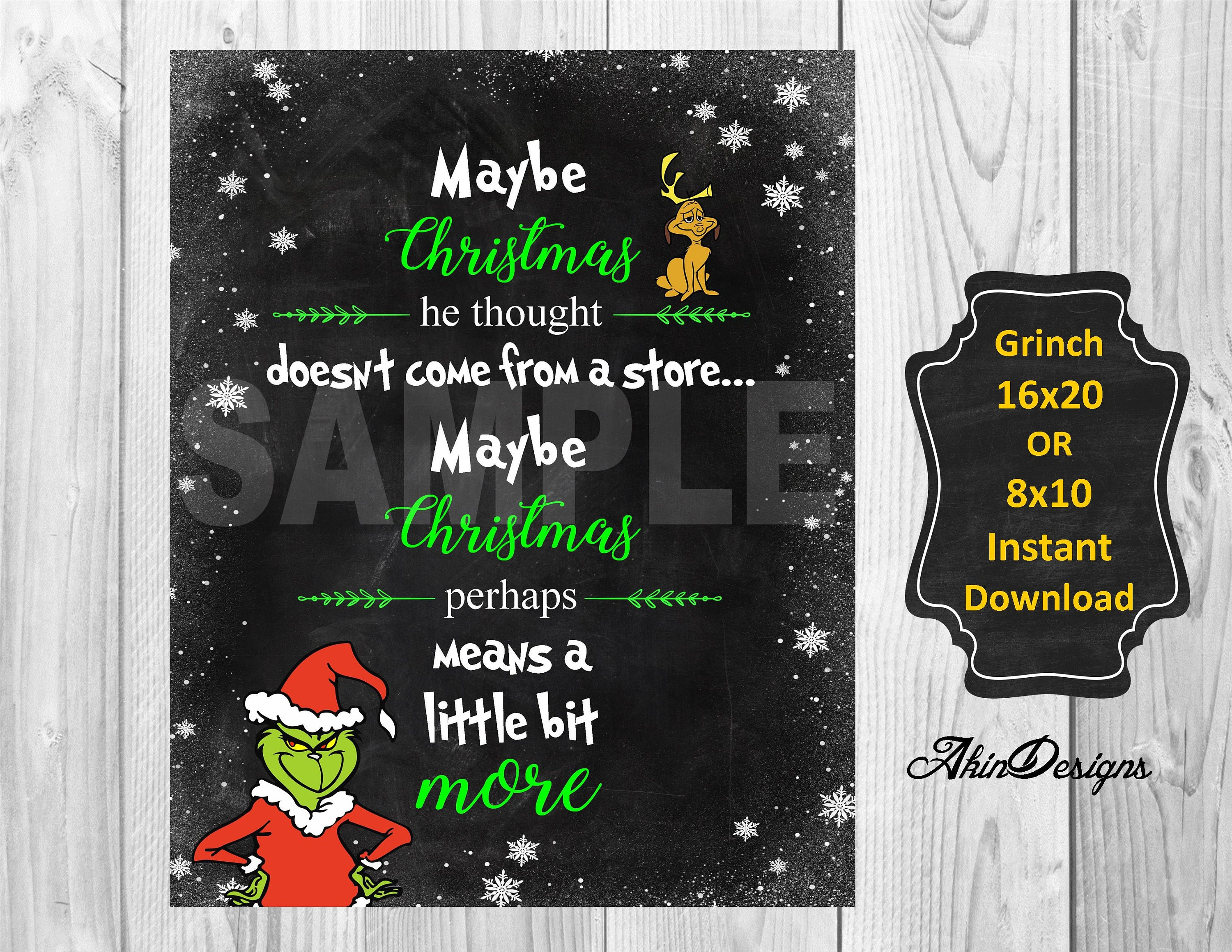 Grinch quote instant download print at 8x10 or 16x20 | etsy.