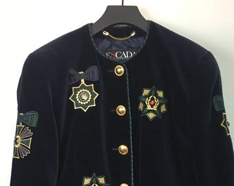 Escada Velvet blazer with embroidery and gemstones size 42 (DE)