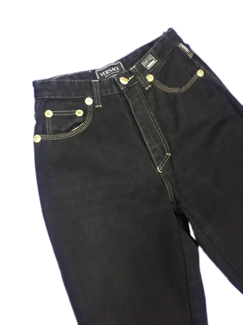 29fe2d5f73 Versace Jeans Couture Black Denim Highwaist Tapered Leg with Gold Seam size  29/43